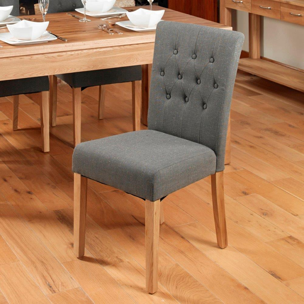 Oak Flare Back Upholstered Dining Chair - Stone (Pack of Two)