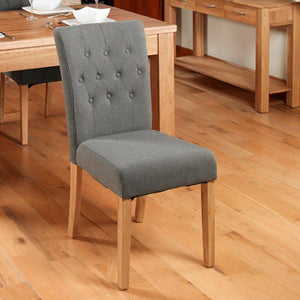 oak flare back upholstered dining chair stone pack of two