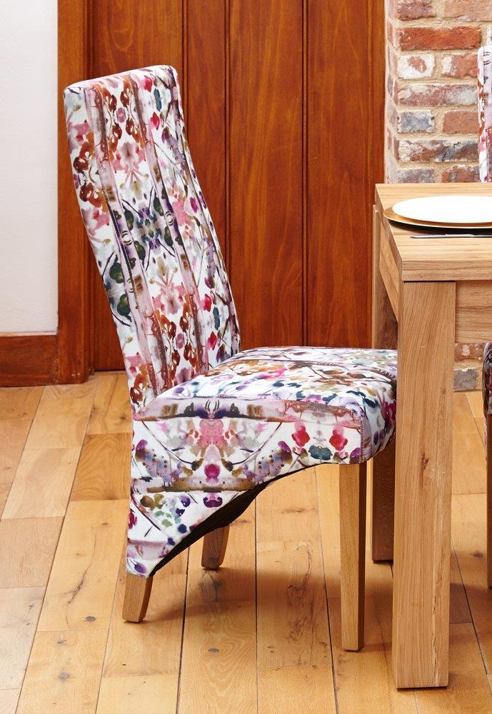 Oak Full Back Upholstered Dining Chair - Bouquet (Pack of Two)