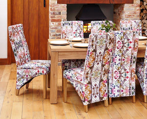 oak full back upholstered dining chair bouquet pack of two