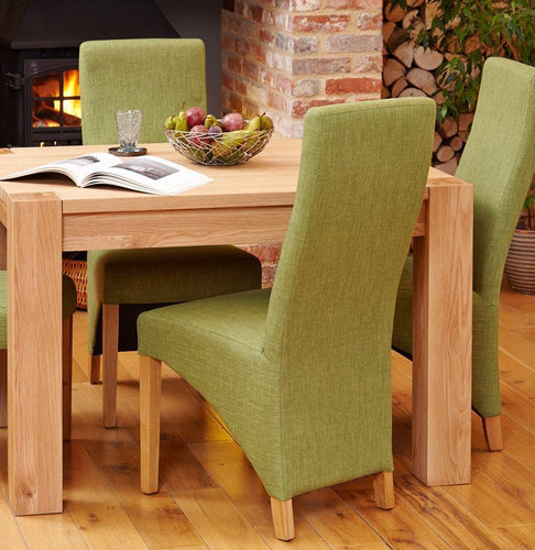 Oak Full Back Upholstered Dining Chair - Pistachio (Pack of Two)