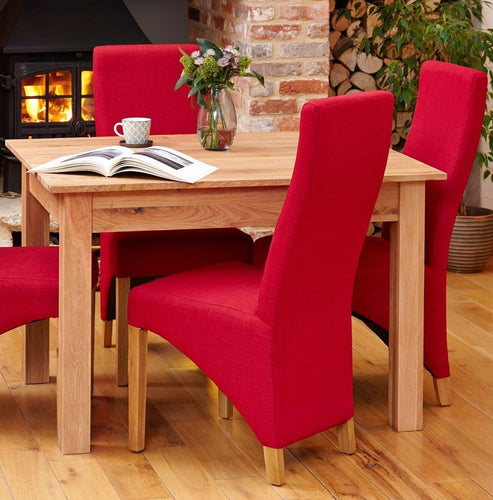 Oak Full Back Upholstered Dining Chair - Red (Pack of Two)