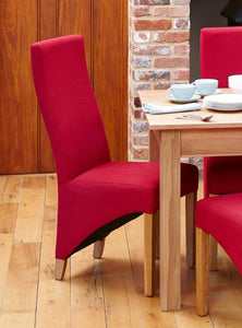 oak full back upholstered dining chair red pack of two