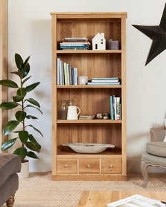 robin oak large 3 drawer bookcase