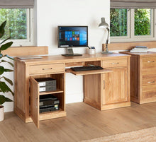 Load image into Gallery viewer, robin oak large hidden office twin pedestal desk