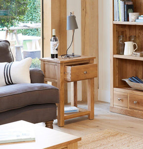 robin oak one drawer lamp table