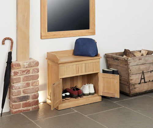 Robin Oak Shoe Bench with Hidden Storage