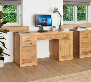 Robin Oak Twin Pedestal Computer Desk