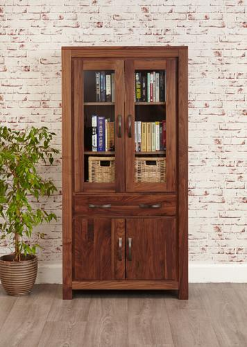 Royal Walnut Large Glazed Bookcase