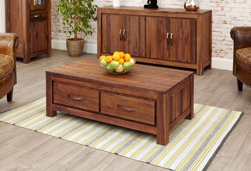 Royal Walnut Low Four Drawer Coffee Table