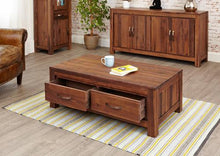 Load image into Gallery viewer, royal walnut low four drawer coffee table