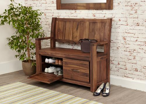 Royal Walnut Monks Bench with Shoe Storage