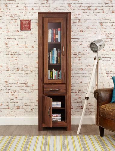 Royal Walnut Narrow Glazed Bookcase