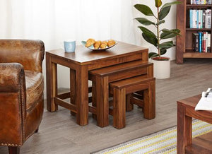 Royal Walnut Nest of 3 Coffee Tables