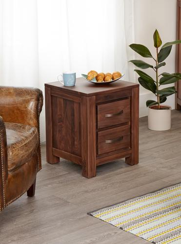 Royal Walnut Two Drawer Lamp Table