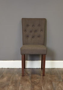 walnut full back dining chair stone