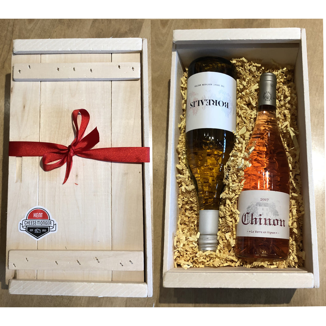 Two Wine - Cheese Box - Wooden