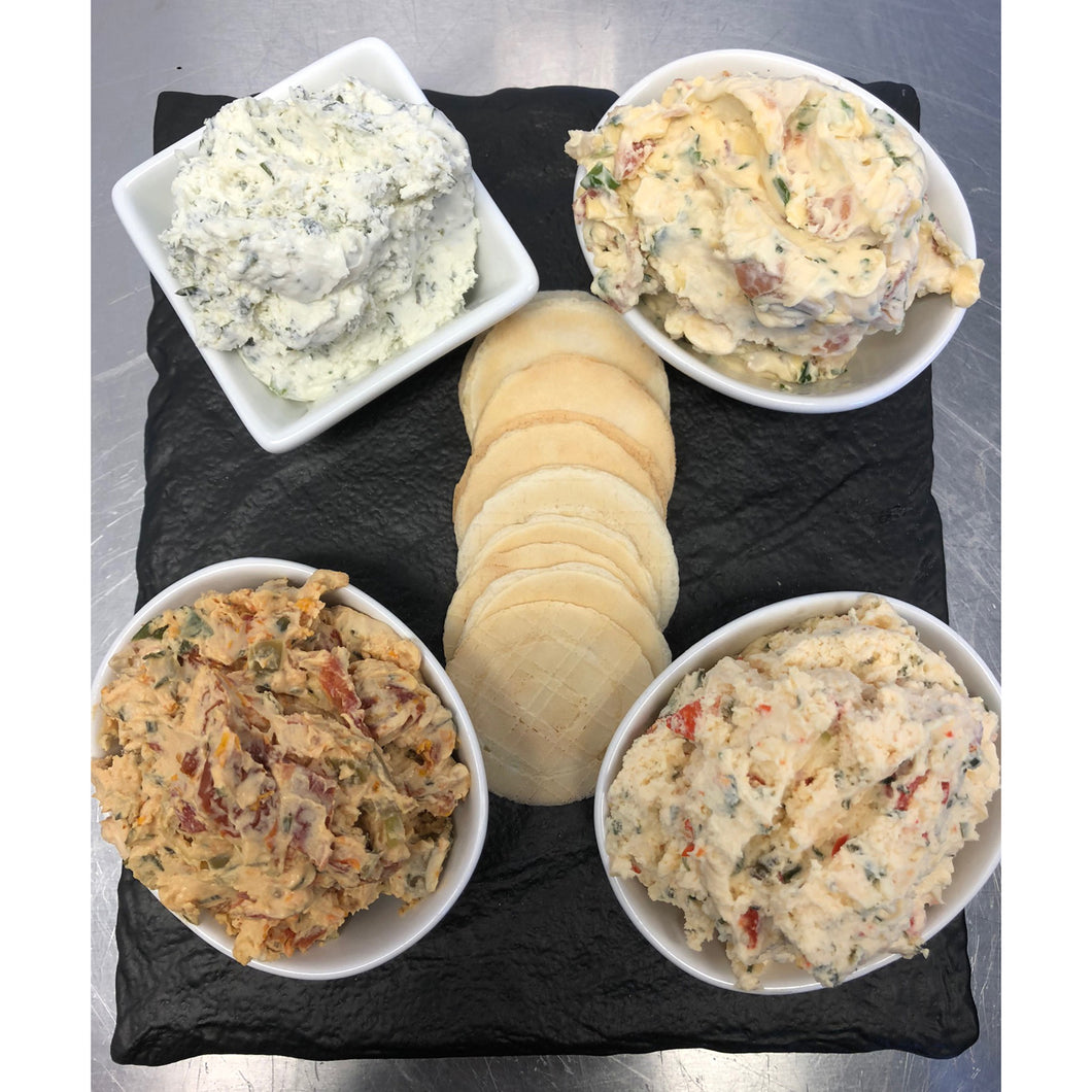 Spread Plate:  Three Spreads + Crackers
