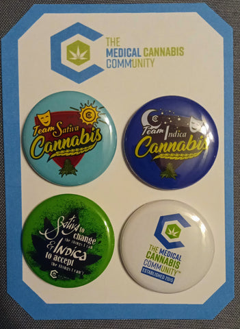 "The Medical Cannabis Community ""Sativa/Indica"" Buttons"