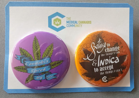 "The Medical Cannabis Community ""Life Changer"" Pinback Buttons"