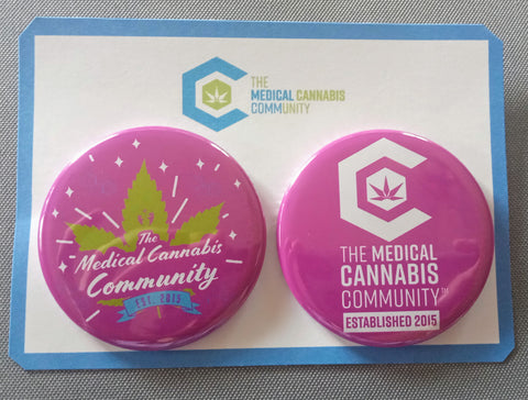 "The Medical Cannabis Community ""Big Pink"" Breast Cancer Awareness 2-Pack 2 1/4"" Buttons"