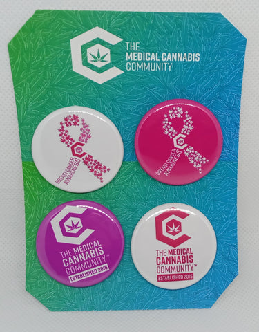 "The Medical Cannabis Community ""Breast Cancer"" 4-Pack 1.5"" Button"