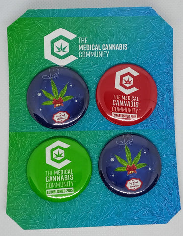 "The Medical Cannabis Community ""Christmas"" 4-Pack 1.5"" Button"