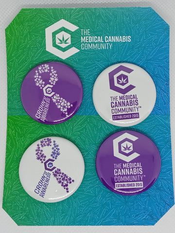 "The Medical Cannabis Community ""Crohn's Awareness"" 4-Pack 1.5"" Button"