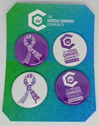 "The Medical Cannabis Community ""Ulcerative Colitis Awareness"" 4-Pack 1.5"" Button"