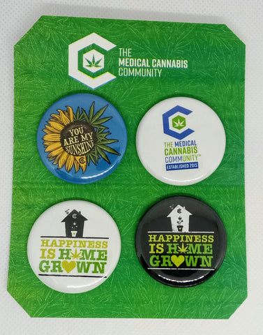 "The Medical Cannabis Community Homegrow Pack 4-Pack 1.5"" Buttons"