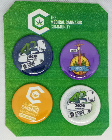 "The Medical Cannabis Community 4/20 2020 Pack 4-Pack 1.5"" Buttons"