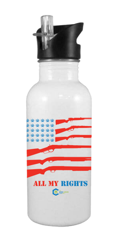 All My Rights Flag 20 oz Aluminum Water Bottle