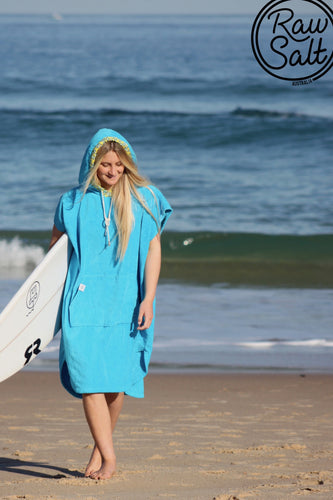 Blue Hooded  Towel Surf Poncho