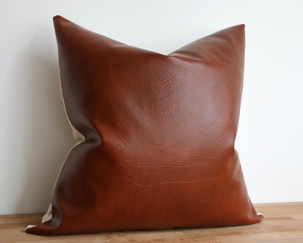Naima, Faux Leather Decorative Pillows Stitched By Grace