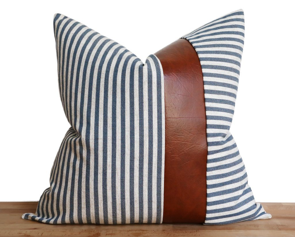 Caruso, Navy Decorative Pillows Stitched By Grace