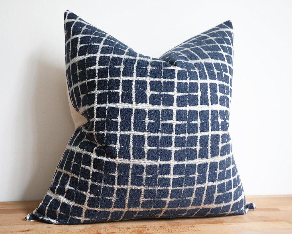 Evie, Indigo Decorative Pillows Stitched By Grace