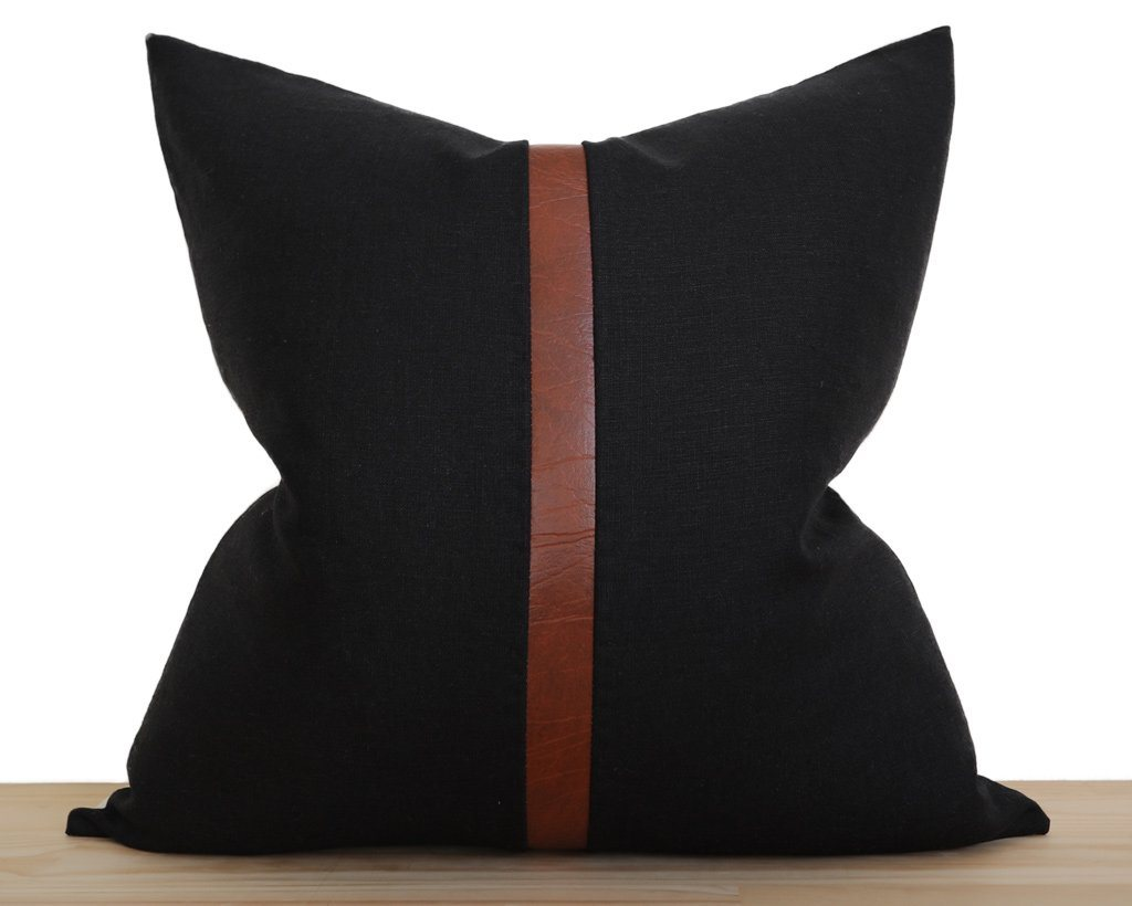 Antibes, Black Decorative Pillows Stitched By Grace