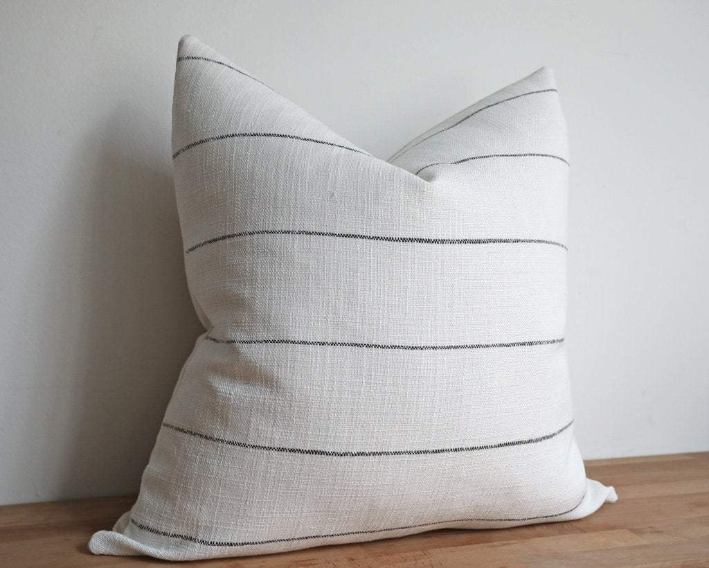 Hudson, Ivory and Onyx Decorative Pillows Stitched By Grace