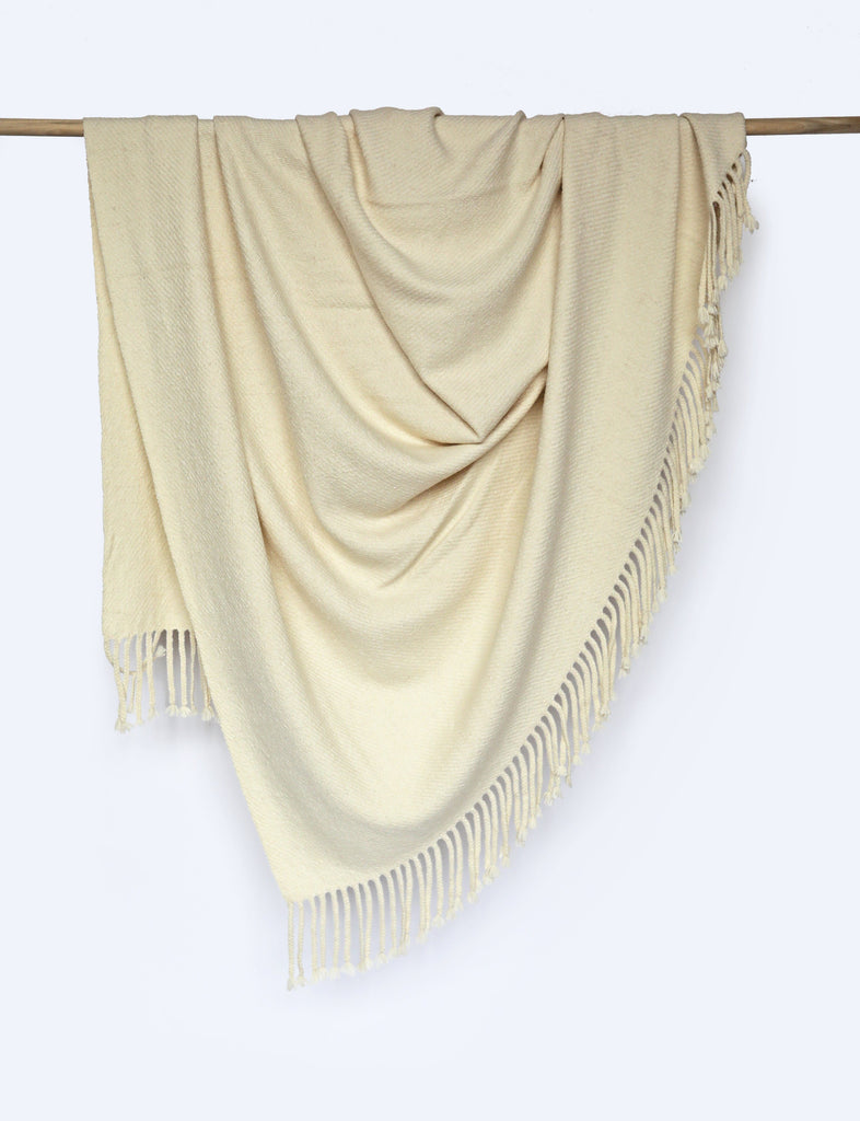 Alpaca Throw Blanket, Ivory Throw Blankets Coterie Brooklyn