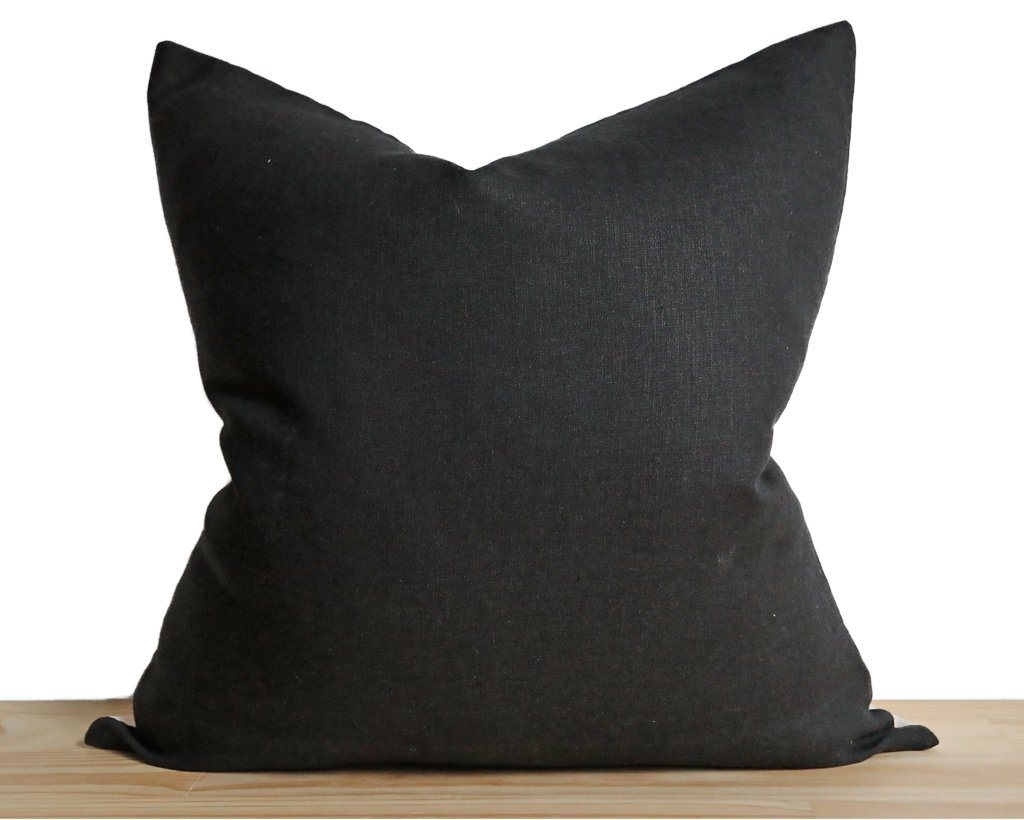 Linen Pillow Cover, Black Decorative Pillows Stitched By Grace