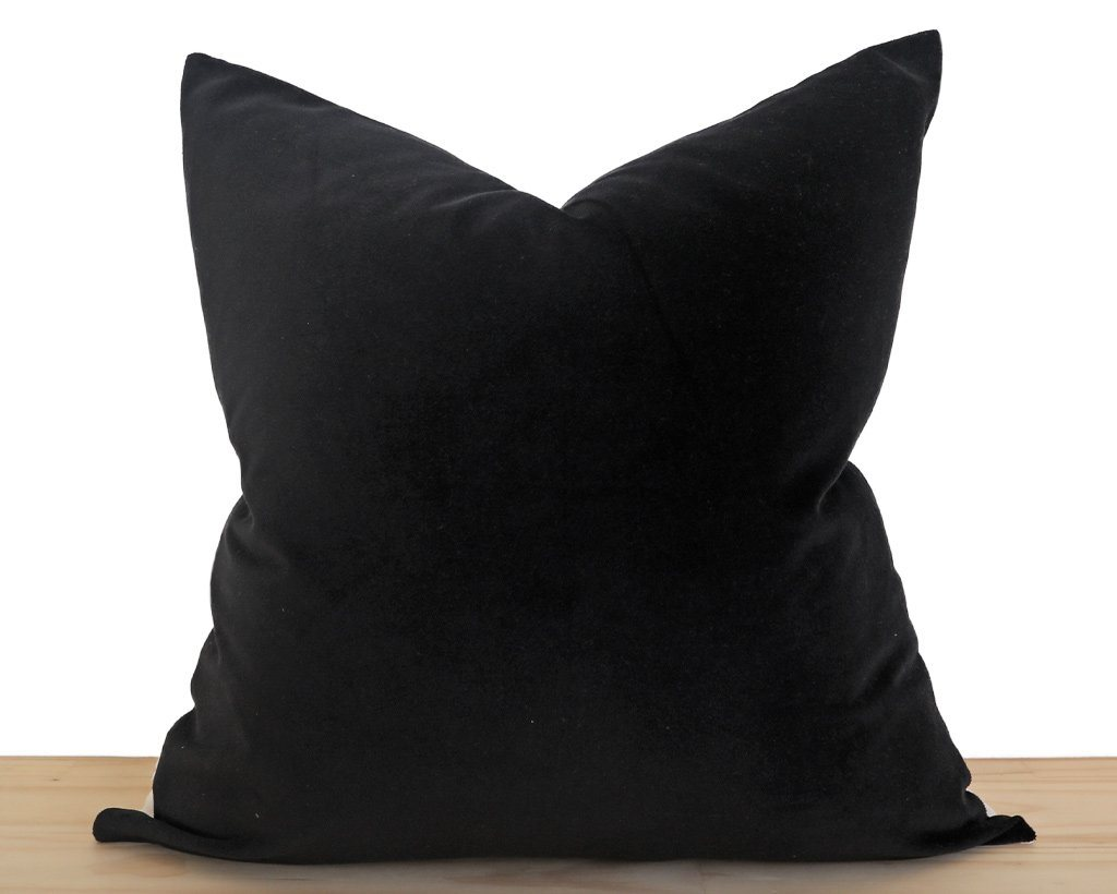 Velvet Pillow Cover, Black Decorative Pillows Stitched By Grace
