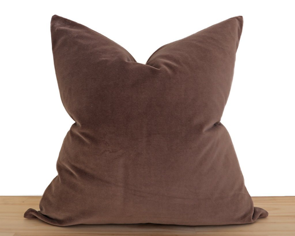 Velvet Pillow Cover, Walnut Decorative Pillows Stitched By Grace