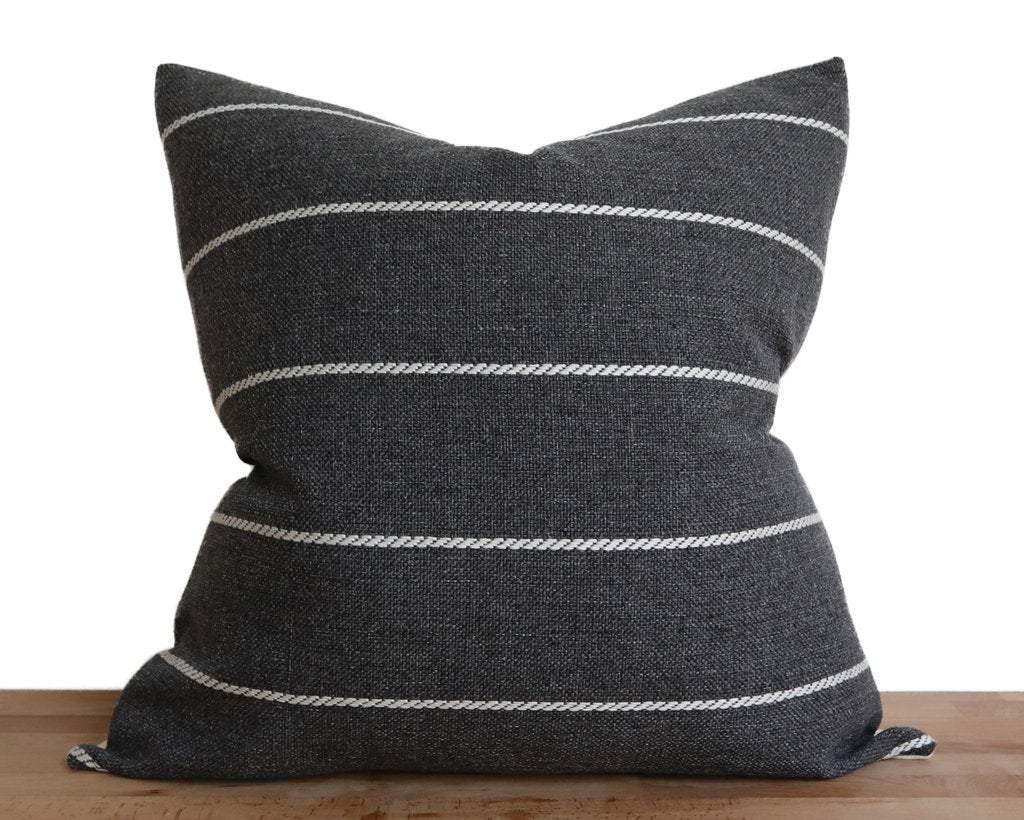 Lille, Charcoal Decorative Pillows Stitched By Grace