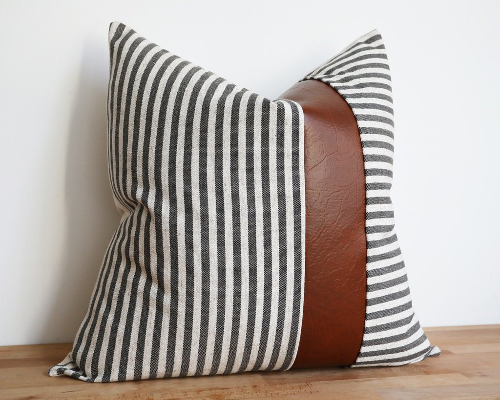 Caruso, Charcoal Decorative Pillows Stitched By Grace