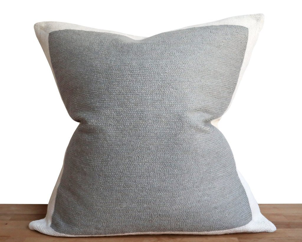 Essex, Color Block Pillow Cover in Grey Decorative Pillows Coterie Brooklyn
