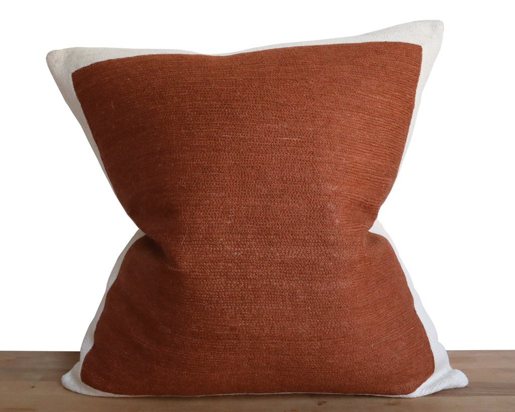 Essex, Color Block Pillow Cover in Rust Decorative Pillows Coterie Brooklyn