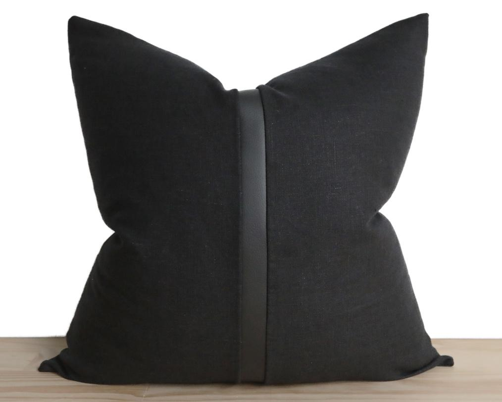 Antibes, All Black Decorative Pillows Stitched By Grace