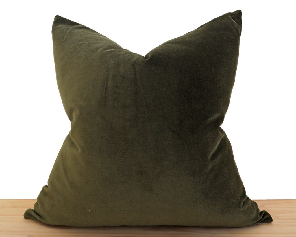 Velvet Pillow Cover, Olive Decorative Pillows Stitched By Grace