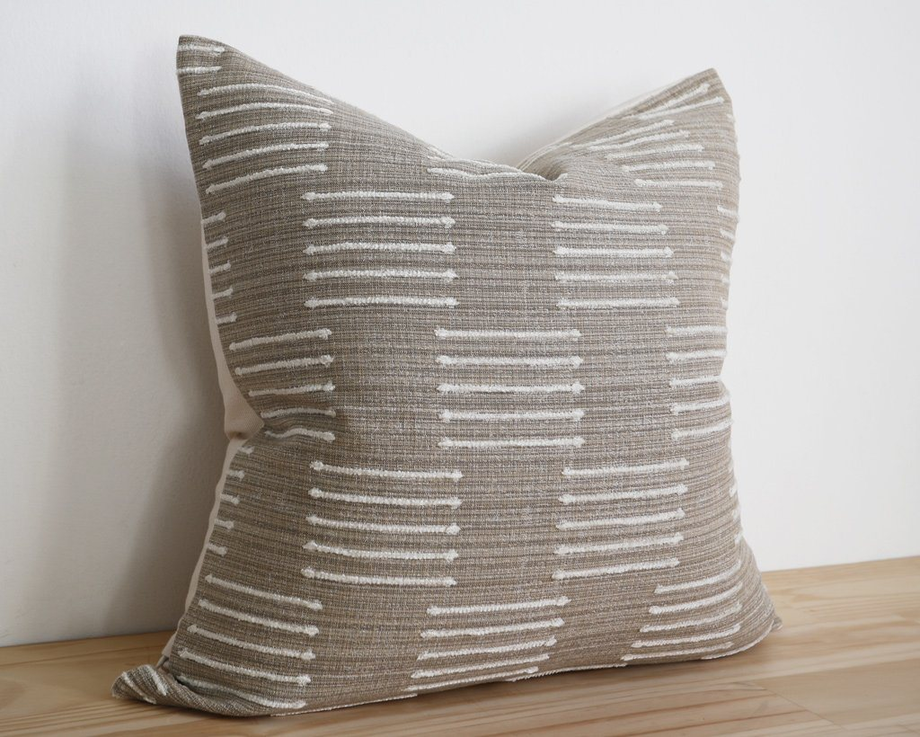 Kingston, Natural Decorative Pillows Stitched By Grace