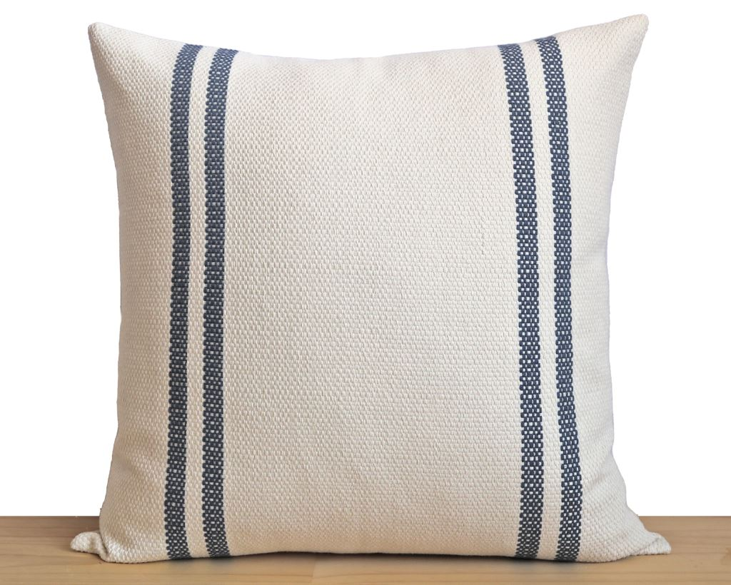 Lehigh, Bone with Indigo Stripe Decorative Pillows Stitched By Grace